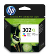 HP Cartucho de tinta original 302XL de alta capacidad tricolor